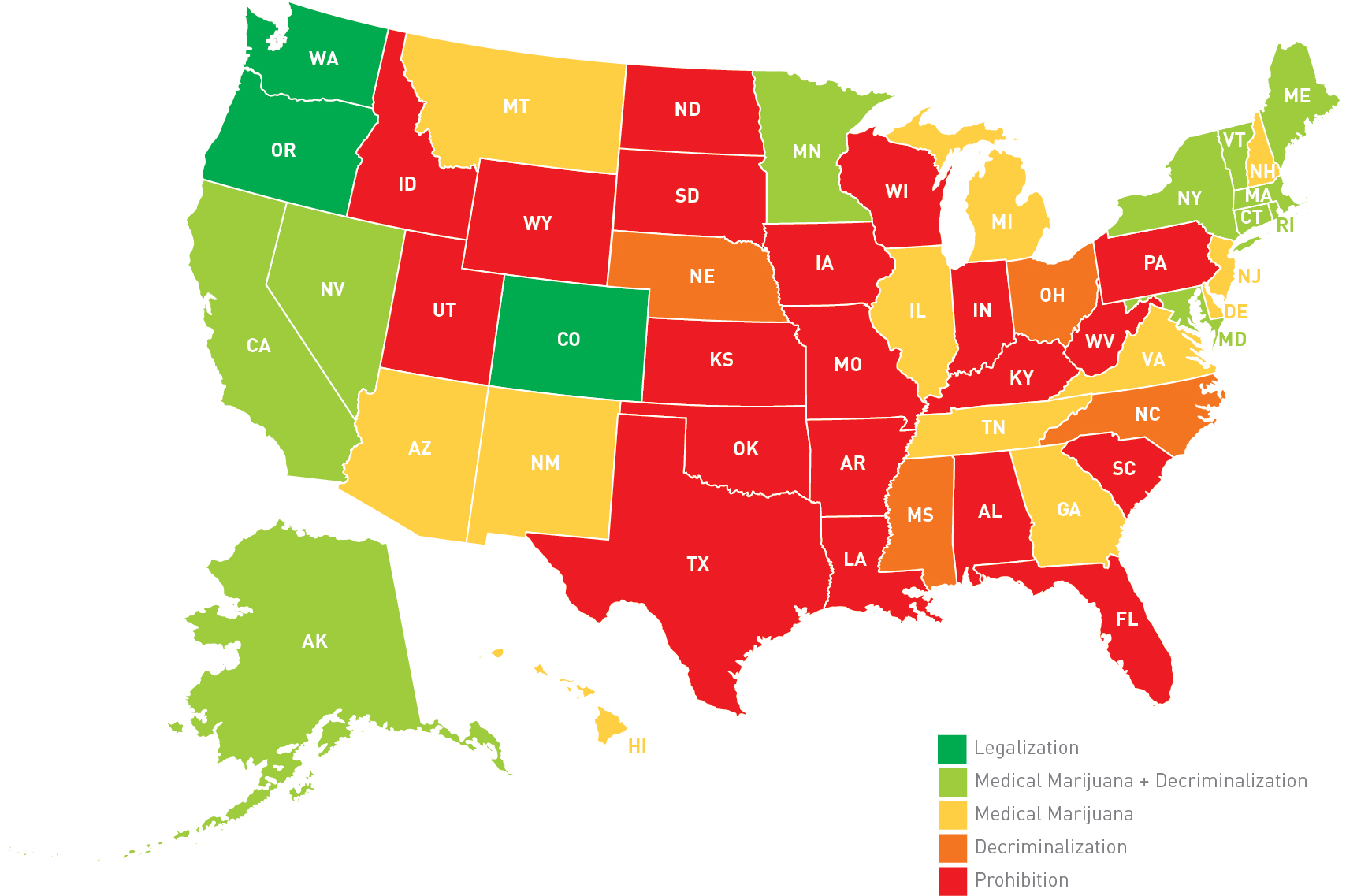 What Employers Are Facing In States That Currently Have Legalized - Marajuana us map legal